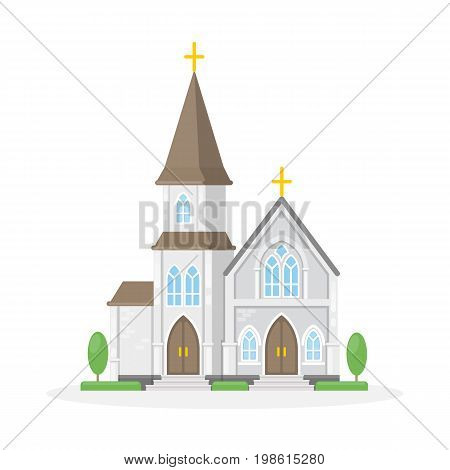 Isolated christan church on white background. Religious building.