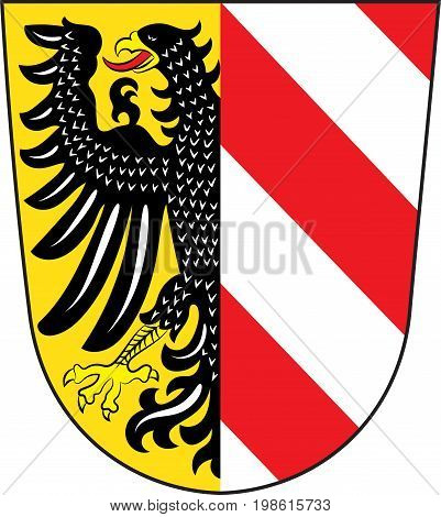 Coat of arms of Nuremberg is a city in Bavaria of German. Vector illustration from the