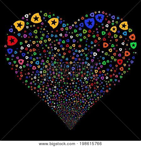 Guard fireworks with heart shape. Vector illustration style is flat bright multicolored iconic symbols on a black background. Object love heart made from scattered pictographs.