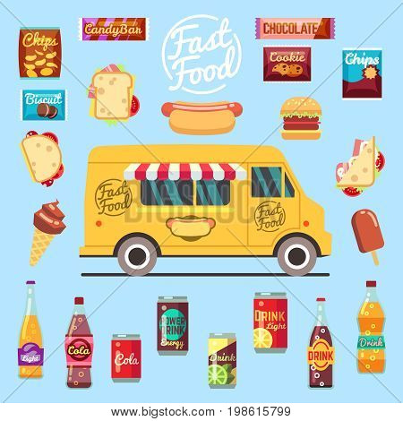 Food truck with big set summer meal, fast food snacks, bottle drinks and ice cream. Flat vector illustration. Fast food snack and lunch