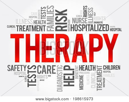 Therapy Word Cloud Collage, Health Concept Background