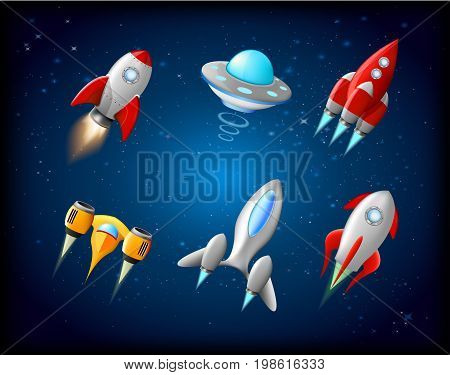 Vector spaceship and UFO vector set in cartoon style. Rocket and spacecraft, futuristic transportation, collection ship illustration. Alien spaceship, spacecrafts and ufo vector set in cartoon style. Cosmic ship in form saucer for transportation, illustra