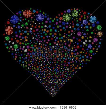 Hypnosis fireworks with heart shape. Vector illustration style is flat bright multicolored iconic symbols on a black background. Object heart made from random pictographs.
