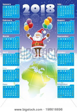 Smiling Santa Claus standing on a top of world globe New Calendar 2018 in the background.