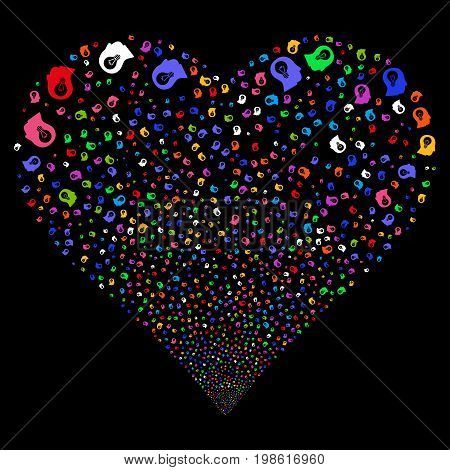Intellect Bulb fireworks with heart shape. Vector illustration style is flat bright multicolored iconic symbols on a black background. Object stream organized from scattered symbols.