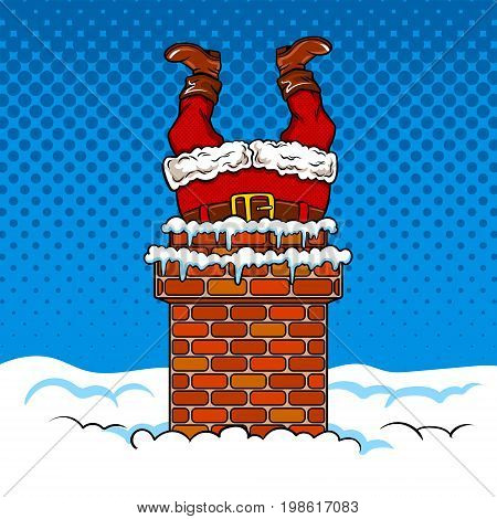 Santa Claus stuck in the chimney. Fairy tale character comic book pop art retro style vector illustration.