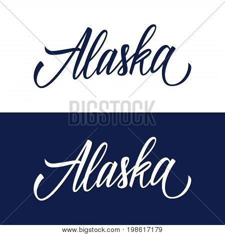Handwritten U.S. state name Alaska. Calligraphic element for your design. Vector illustration.
