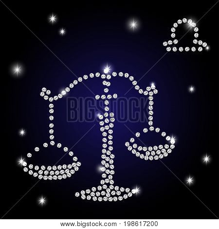 Sign of the zodiac Libra is the starry sky vector Illustration. Contour icon.