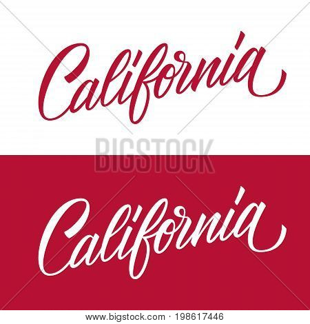 Handwritten U.S. state name California. Calligraphic element for your design. Vector illustration.