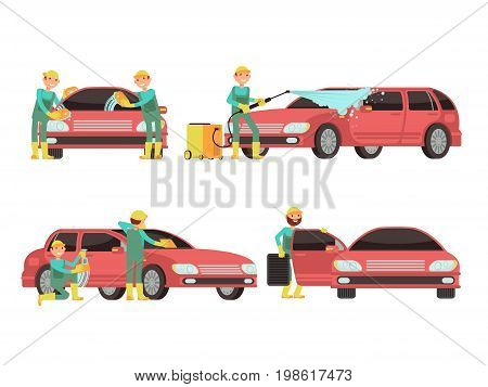 Washing car services vector concepts with cars and cleaners. Cleaner wash car with foam and soap illustration