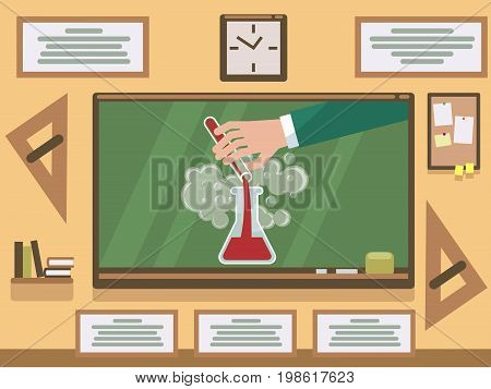 Chemical experiment on chalkboard in classroom. Experiment chemistry, science chemical research. Vector illustration