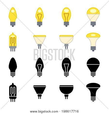 Black silhouettes and colorful light bulbs icons isolated on white. Power light lamp electric, vector simple bright lamp, illustration of electrical lightbulb