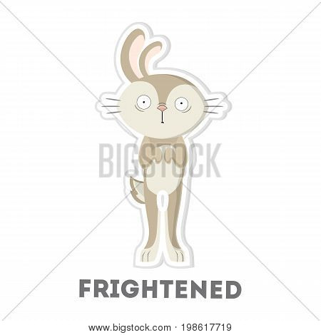 Isolated frightened rabbit on white background. Funny cartoon character.