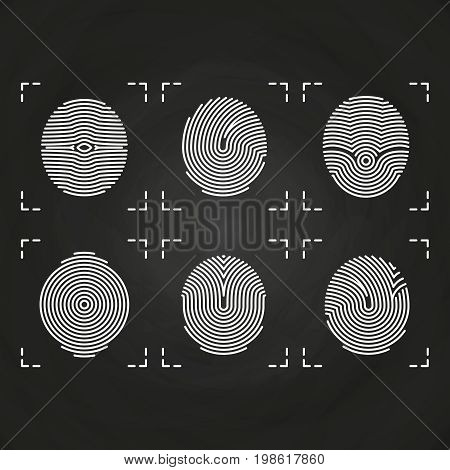White fingerprints icons collection on chalkboard. Fingerprint identity human, vector illustration