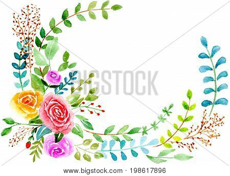 Greetings card abstract roses with leaves isolated on white background, hand-painted watercolor illustration and paper texture