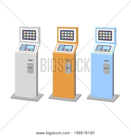 Payment terminals set. isolated stationary kiosk for electronic payments.