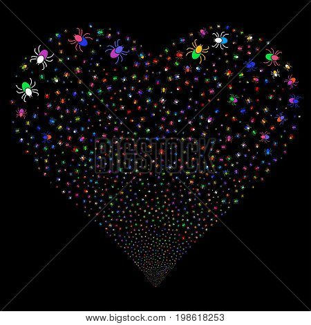Mite fireworks with heart shape. Vector illustration style is flat bright multicolored iconic symbols on a black background. Object love heart made from confetti design elements.