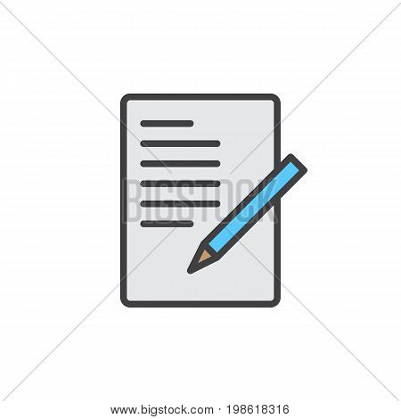 Document with pen, form filled outline icon, line vector sign, linear colorful pictogram isolated on white. Symbol, logo illustration. Pixel perfect vector graphics