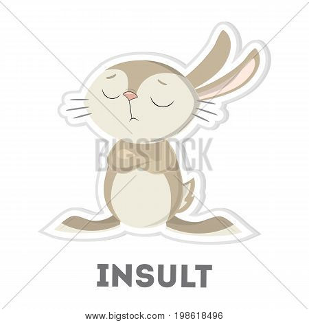 Isolated insulted rabbit on white background. Funny cartoon animal.