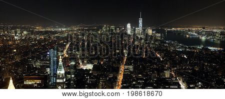 New York, Manhattan Aerial View At Night Form The Empire State Building