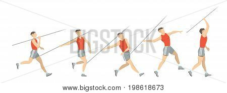 Javelin throw set. Set of silhouettes throwing the javelin.