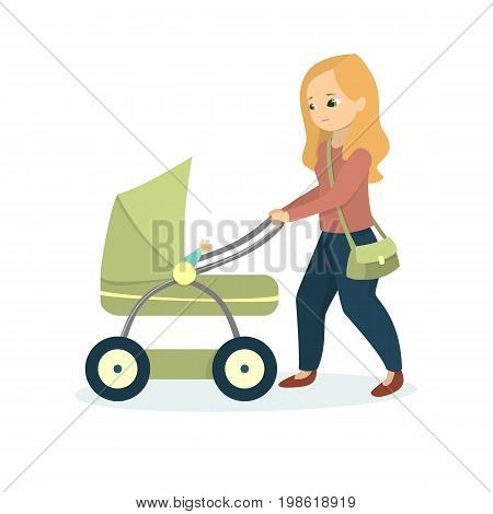 Mother with kid walking. Isolated woman with pram on white background.