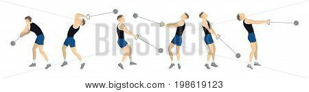 Hammer throw set. Set athkete's motion of throwing hammer.