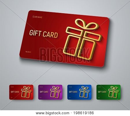 Gift Card Design With A Gold 3D Box With A Shadow