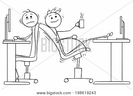 Cartoon vector illustration of two stick man office workers one of them lowered the chair so the other one has no space.