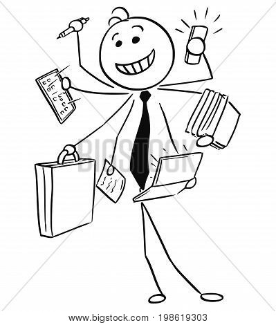 Cartoon vector stick man illustration of successful happy smiling businessman or seller working on many tasks in same time conceptual idea of man with seven arms.
