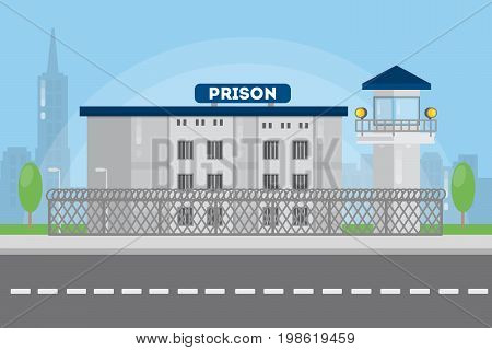 Prison city building in urban landscape with bars and tower.