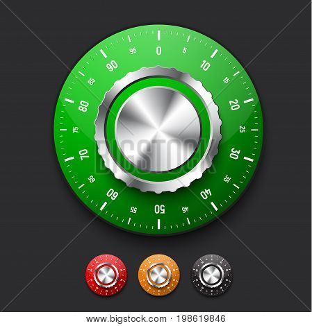 set of realistic locks from the safe with a dial of different colors. Mechanical combination lock. Vector illustration