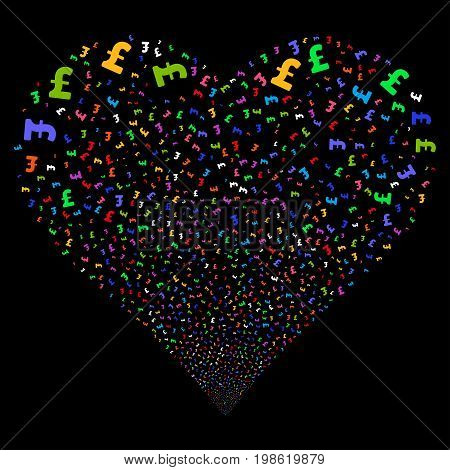 Pound Sterling fireworks with heart shape. Vector illustration style is flat bright multicolored iconic symbols on a black background. Object salute constructed from random pictograms.