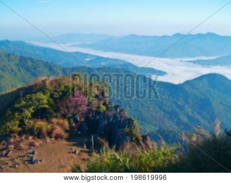 Blurred view of mountain with mist and forest