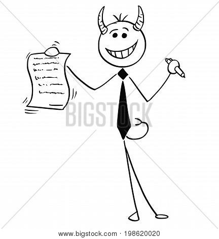 Cartoon vector illustration of smiling stick man devil businessman or salesman offering contract or agreement paper to signing.