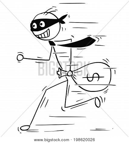 Cartoon vector illustration of smiling masked stick man businessman or clerk running away with bag of money.