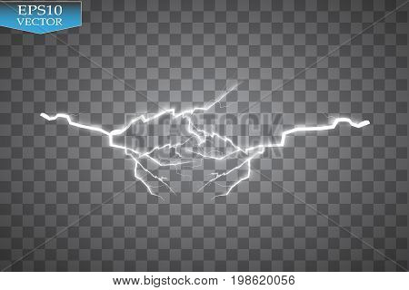 Set of lightnings. Thunder-storm and lightnings. Magic and bright lighting effects. Vector Illustration