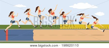 Triple jump moves illustration. Woman jumps in uniform.