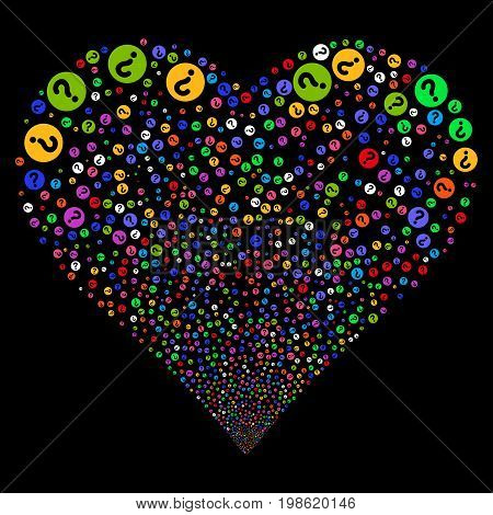 Query fireworks with heart shape. Vector illustration style is flat bright multicolored iconic symbols on a black background. Object stream combined from scattered pictograms.