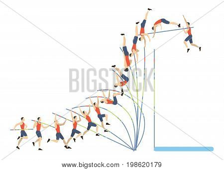 Jumping with pole. Isolated ilustration of vault on white background.