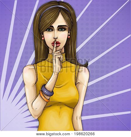 Vector pop art illustration of a young girl holding her finger on her lips and asking for silence, quiet, do not tell anyone. Excellent advertising poster for advertising discounts and sales