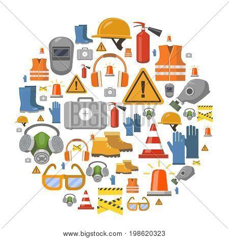 Safety work flat icons round background illustration with workwear helmet, gloves, extinguisher
