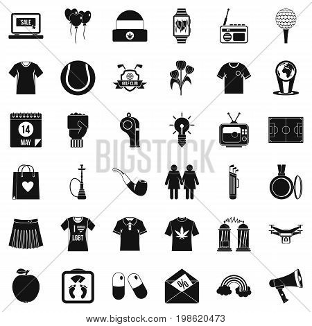 Tshirt icons set. Simple style of 36 tshirt vector icons for web isolated on white background