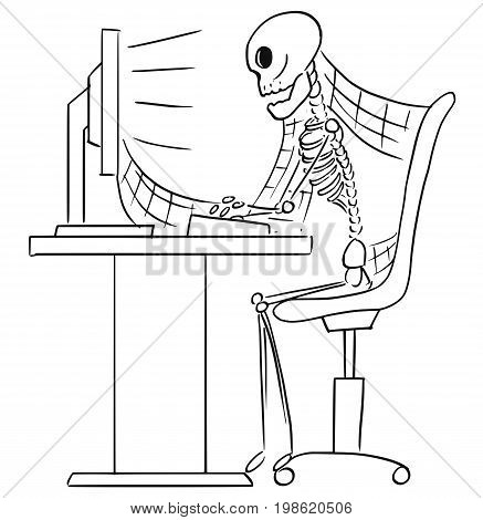 Cartoon vector illustration of forgotten human skeleton of dead businessman or clerk sitting in front of computer in office with spider webs all around.