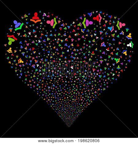 Reader fireworks with heart shape. Vector illustration style is flat bright multicolored iconic symbols on a black background. Object stream made from confetti symbols.