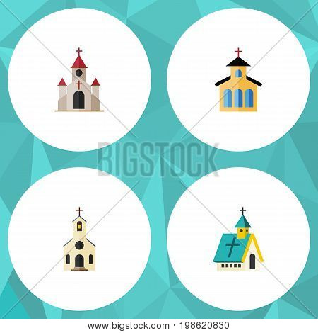 Flat Icon Christian Set Of Building, Architecture, Catholic And Other Vector Objects