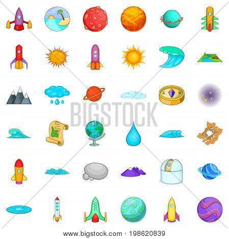 Solar system icons set. Cartoon style of 36 solar system vector icons for web isolated on white background