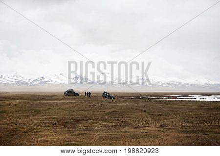 Accident on the road, car crash, car accident. Waiting for help. Extreme dangerous adventure