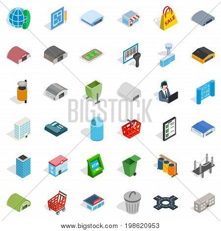 Big city icons set. Isometric style of 36 big city vector icons for web isolated on white background