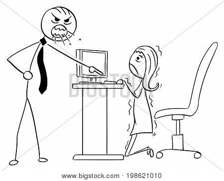 Cartoon vector illustration of stick man angry boss manager at office screaming or roaring at businesswoman or female clerk employee. She is hidden behind desk.